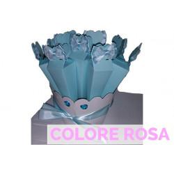 Confezione Kit 10 portaconfetti piramide con fiocco in raso e pizzo con base Rosa