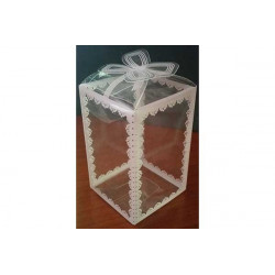 Scatola decorata Bianco in PVC 16x9x9cm 24pz
