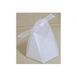 Scatola Triangolare portaconfetti traslucido Bianco in PVC 5x5x5cm 4pz