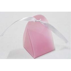 Scatola Triangolare portaconfetti traslucido Rosa in PVC 5x5x5cm 4pz