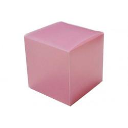 Scatola Cubo portaconfetti traslucido Rosa in PVC 5x5x5cm 4pz