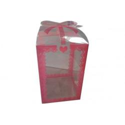 Scatola Quadrata portaconfetti decorata Rosa in PVC 7x7x11cm 24pz
