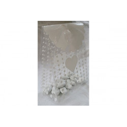 Sacchetto Regalo portaconfetti decorato Cuore Bianco in PVC 12x9x6cm 12pz