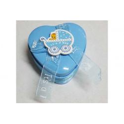 Scatolina portaconfetti cuore celeste 7cm
