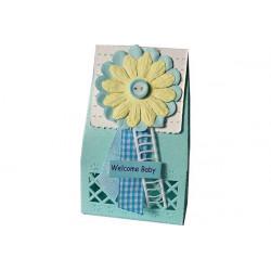 Scatola portaconfetti in cartoncino celeste bimbo