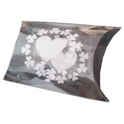 Bustina portaconfetti con decoro cuore Bianco in PVC 7x10cm 12pz