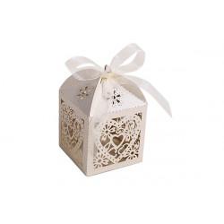 Scatolina portaconfetti in cartoncino perlato matrimonio 5x5x7cm 6pz
