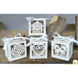 Set 4 Scatoline portaconfetti in legno matrimonio bianco