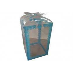 Scatola decorata Celeste in PVC 16x9x9cm 24pz