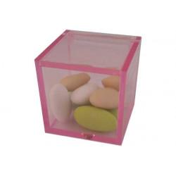 Scatola Cubo portaconfetti  Rosa Trasparente in plexiglas 5x5x5cm