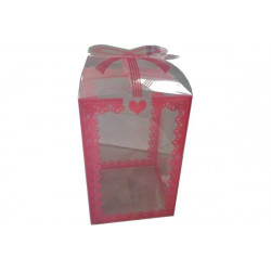 Scatola decorata Rosa in PVC 16x9x9cm 24pz