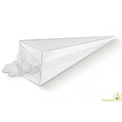 """Cono portaconfetti portariso trasparente in PVC """"Cono"""" 5x5x16cm 24pz"""