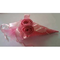 Cono portaconfetti in tela con decoro rosa colore rosa 11cm