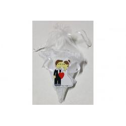Cono portaconfetti bianco con placca decorativa 10cm