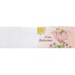 5 bigliettini per bomboniere stampabili Il mio battesimo Tema rosa
