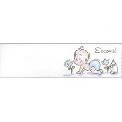 5 bigliettini per bomboniere stampabili Nascita Battesimo Tema Eccomi! Celeste
