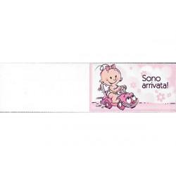 5 bigliettini per bomboniere stampabili Nascita Battesimo Tema Sono Arrivata rosa