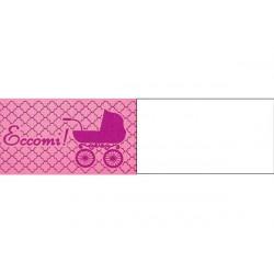 5 bigliettini per bomboniere stampabili Nascita Tema Rosa
