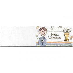 5 bigliettini per bomboniere stampabili Prima Comunione Tema Celeste