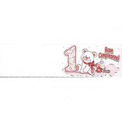 5 bigliettini per bomboniere stampabili Primo Compleanno Tema rosa