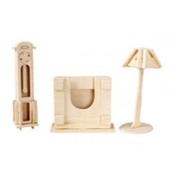 Puzzle 3D in legno tema Lampada e Pendola