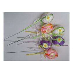 Uova decorate in polistirolo su stelo
