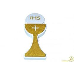 Festone Polistirolo Calice Prima Comunione glitterato Oro 17x36x5cm