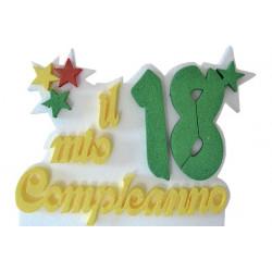 Festone Polistirolo Il Mio 18° Compleanno glitterato Oro con Stelle 33x25x5cm