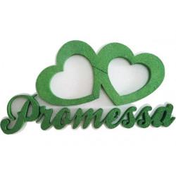 Festone Polistirolo Promessa Cuori Accoppiati glitterati Verde 37x20x5cm