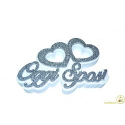 Festone Polistirolo Oggi Sposi Cuori Accoppiati glitterati Argento 37x20x5cm