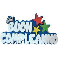Festone Polistirolo Buon Compleanno Blu glitterato con Stelle 37x20x5cm