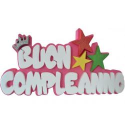 Festone Polistirolo Buon Compleanno Rosa glitterato con Stelle 37x20x5cm