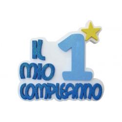 Festone Polistirolo Il Mio 1° Compleanno con Stella Azzurro glitterato 37x34x5cm