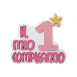 Festone Polistirolo Il Mio 1° Compleanno con Stella Rosa glitterato 37x34x5cm
