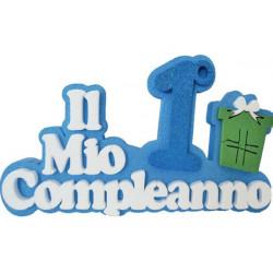 Festone Polistirolo Il Mio 1° Compleanno con Regalo Azzurro glitterato 39x23x5cm