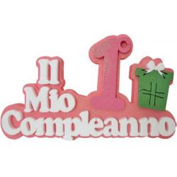Festone Polistirolo Il Mio 1° Compleanno con Regalo Rosa glitterato 39x23x5cm