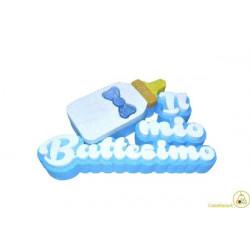 Festone Polistirolo Il Mio Battesimo con Biberon Azzurro glitterato 32x22x5cm