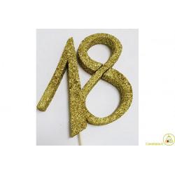 Decorazione in Polistirolo 18 glitterato oro 14x14cm