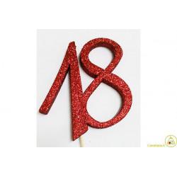 Decorazione in Polistirolo 18 glitterato rosso 14x14cm