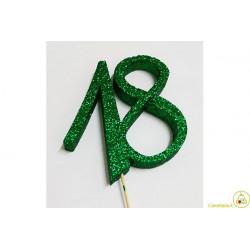Decorazione in Polistirolo 18 glitterato verde 14x14cm