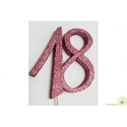 Decorazione in Polistirolo 18 glitterato rosa 14x14cm