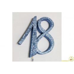Decorazione in Polistirolo 18 glitterato azzurro 14x14cm