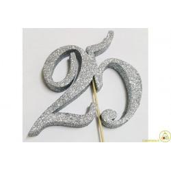 Decorazione in Polistirolo 25 glitterato argento 14x14cm
