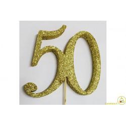 Decorazione in Polistirolo 50 glitterato oro 14x14cm