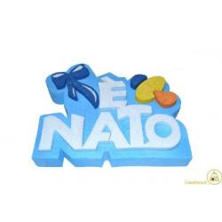 Festone Polistirolo È Nato in rilievo glitterato 30x23x5cm