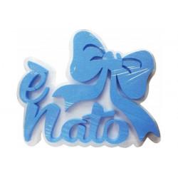 Festone Polistirolo è Nato con Fiocco glitterato 38x26x5cm