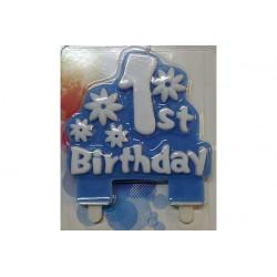 Placca candela primo compleanno Celeste cm 11x12