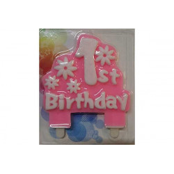 Placca candela primo compleanno Rosa cm 11x12