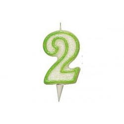 Candela Glitterata Fluorescente Verde cm 9 n° 2