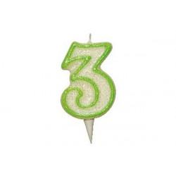 Candela Glitterata Fluorescente Verde cm 9 n° 3